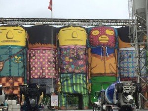 Famous painted cement silos at Granville Island